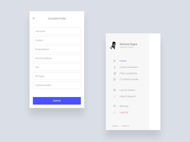 Complete profile & Side navigation UI