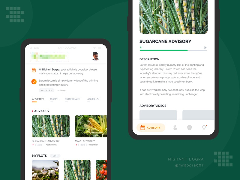 Agronomy App UI application design user expereince user interface application ui crop advisroy sugarcane agriculture business  consulting agriculture