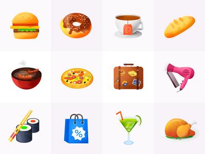 Icons Design food 3d design game app gui flat ui