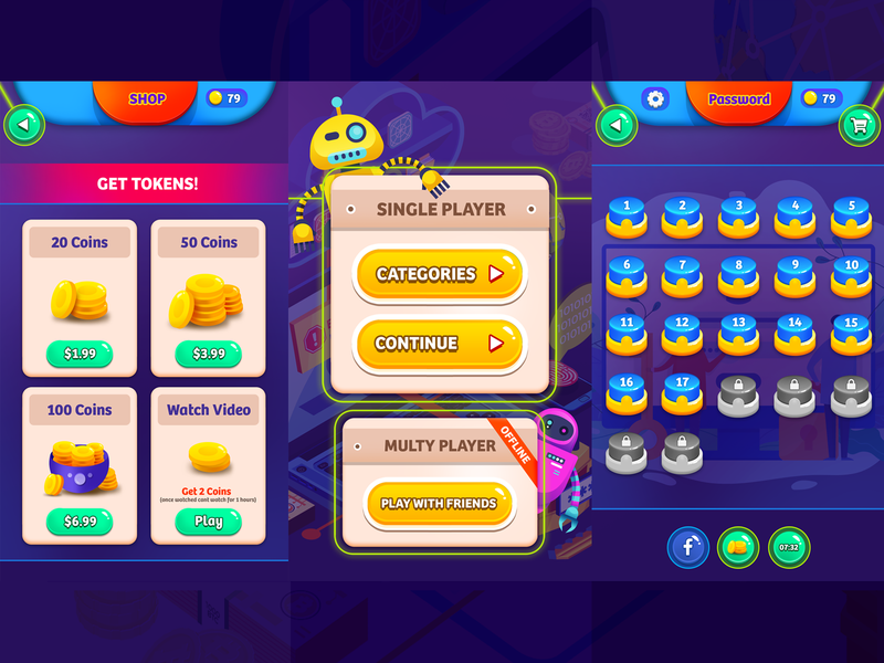 Android Game Design button coins game design awesome iphone robot game art ui game