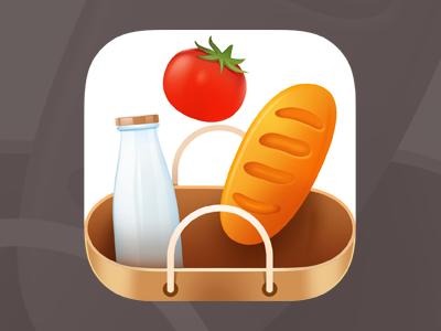 Groceries App Icon logo vibrant minimalistic icon iphone android ios icon ui iphone icon flat