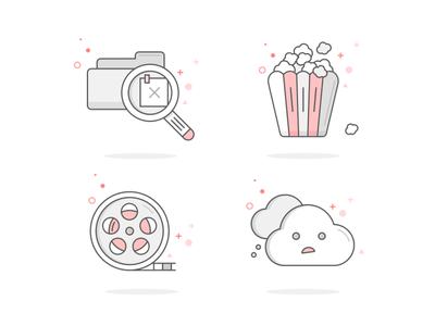 Vectors Icons design. mobile ui mobile photoshop illustrator set popcorn movie web icons web 2d outline icon design icon vector