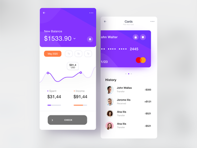 App UI Design. Credit Card app. android 2d art flat 3d vibrant card business money credit card mobile minimalistic iphone dribbble clean design ux gui ui app designer app design