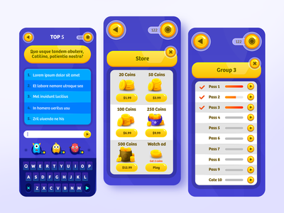 TOP 5 Iphone Game Design purple guess top word game ui android game iphone game game design game art vector gui iphone icon illustration design game minimalistic ios icon flat iphone