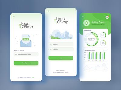Loyal Chimp App Design graphic design design green minimalistic flat vibrant apple play google onboarding screens game app chimp gui ui mobile design app design mobile app android ios