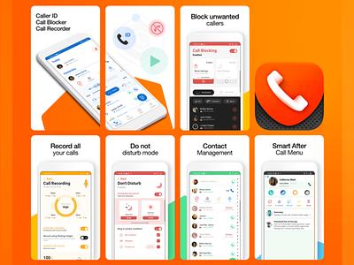 App Screenshots + icon design screen design vibrant call master android icon iphone icon ios icon icon design phone block call play google screenshots ui design gui ui marketing material app screenshots