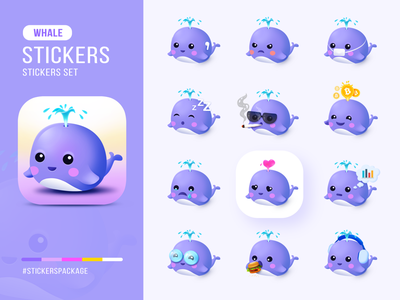 Whale stickers package symbol nature sea iphone android app icon logo illustrator photoshop crypto flat shark whale vibrant icon sticker design sticker