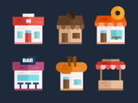 Shop & Stores Flat Icons