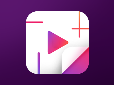 Video Collage Story for Instagram Icon minimalistic vibrant flat iphone icon ios icon icon collage video play story instagram