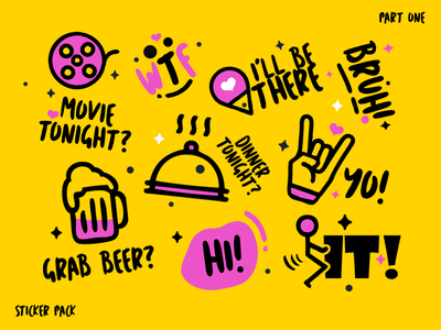 Simple Stickers Pack design. (part1) message viber mobile icon ui cartoon funny romantic vibrant flat simple sticker design sticker