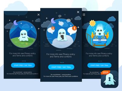Mobile App design. cartoon minimalistic flat app design game art art game design mobile app ui icon ghost
