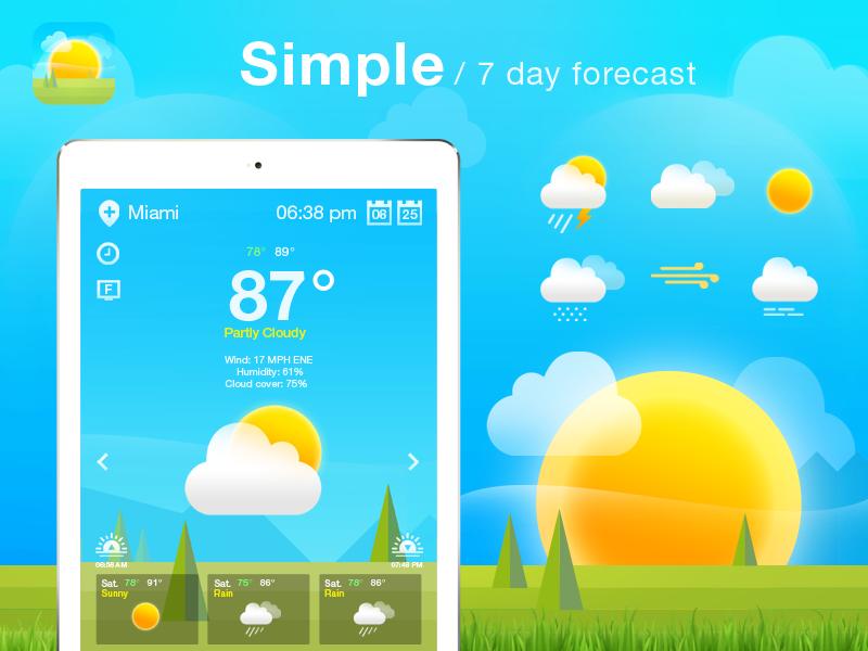 Weather App/Icons Design. app design iphone ui flat temperature mist fog rain sun icons app weather