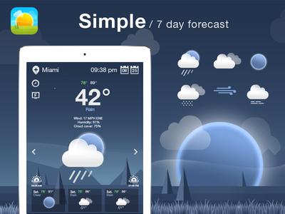 Weather App/Icons Design. art gui ui moon night rain ios icons weather app