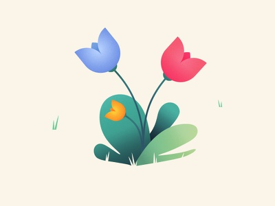 Noisy Tulips flower grass green yellow bue pink tulip noise