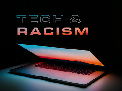 Tech & Racism gradient key art extended eurostile typography antiracism
