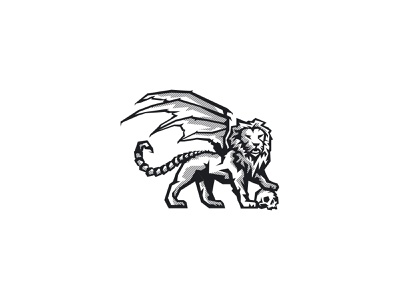 Manticore manticore lion vector illustration brand logo