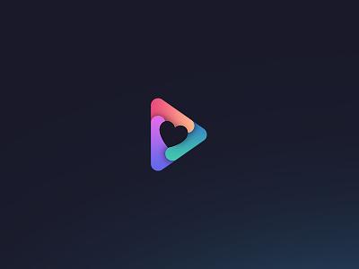 Dribbble gradient figure geometric triangle color heart logo icon