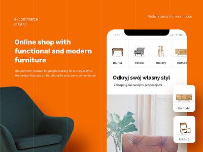 M. furniture store mobile orange web ux ui shop layout landing homepage design furniture store