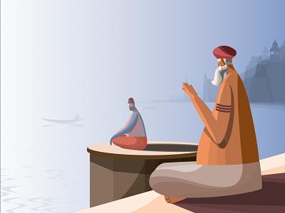 Prayagraj Yogi yogi art artwork illustrations editorial illustration art character design vector illustration