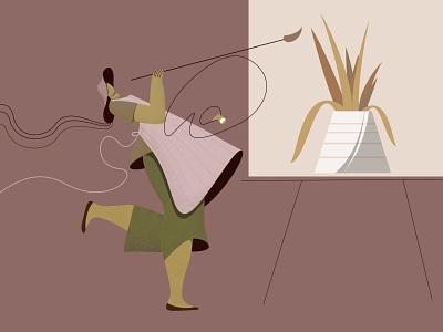 Modern Artist from Paris editorial editorial illustration artist artwork illustration art flat character vector illustration