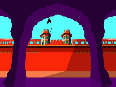 jaipur mahal artwork vector illustration