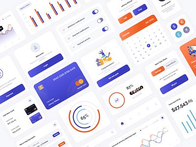 Finance UI Kit branding vector illustration credit card debit card ux ui dashboard ui finance app finance