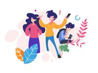 Happy sharing - vector illustration