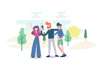Friends Meet Illustration