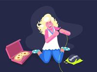 Gamer Girl Vector Illustration