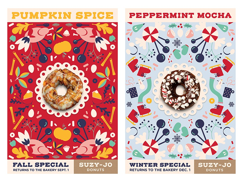 Seasonal Posters, Fall and Winter pattern branding rebrand donut shop donuts floral illustration advertising poster series poster posters