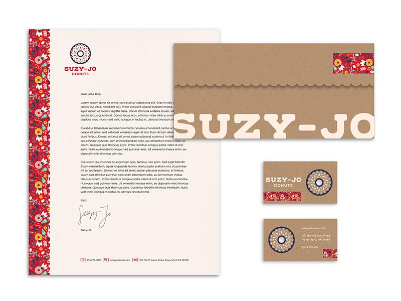 Suzy-Jo Donuts Stationery identity logo design logo branding brand rebrand pattern patterns business card letterhead envelope stationery