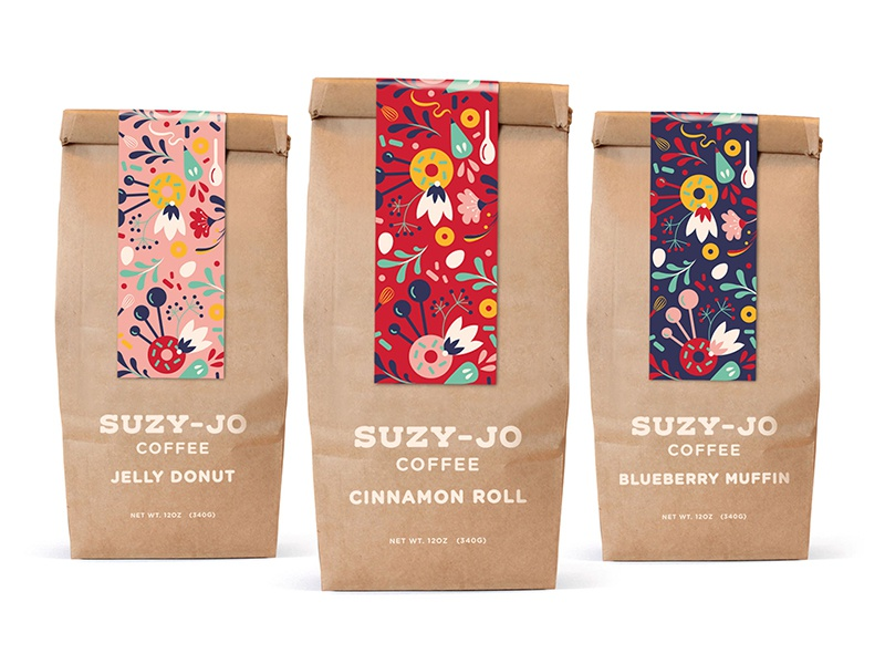 Coffee Packaging illustration bakery flowers patterns rebrand brand branding coffee packaging coffee packaging design packaging