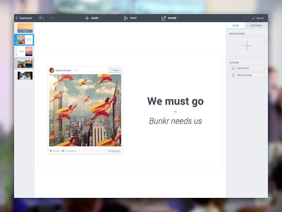 Bunkr - presentation editor interface ui ux web apps product presentation
