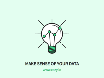 Cozy - Make Sense of your Data data analytics bulb light outline icons