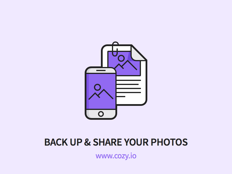Cozy - Back Up & Share your Photos files picture phone mobile outline icons