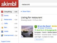 sidebar + listing results