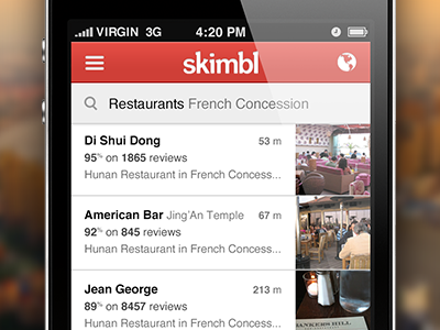 Results listing  for skimbl app red list search lbs iphone app mobile website results listing