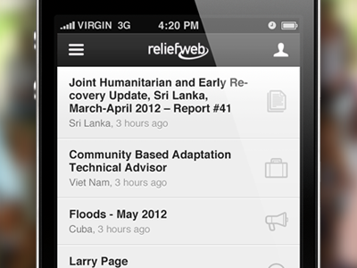app homepage for reliefweb content reader news homepage mobile app iphone icons article listing