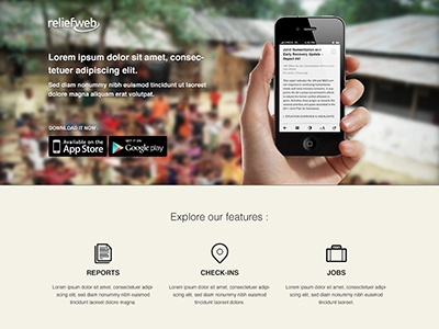 Onepage - app presentation cream iphone website app mobile onepage icons ui landing page download