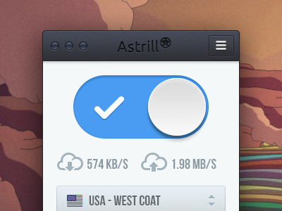 Astrill Redesign astrill ui design clean blue icons mac mac app app