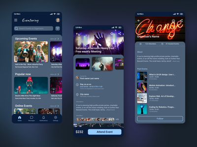 Event App Concept dark mode app ux ui design