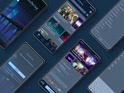 Event App Concept photoshop figma ux ui design dark mode app