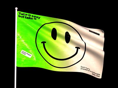 Flag green smiley typography octane render blender 3d flag