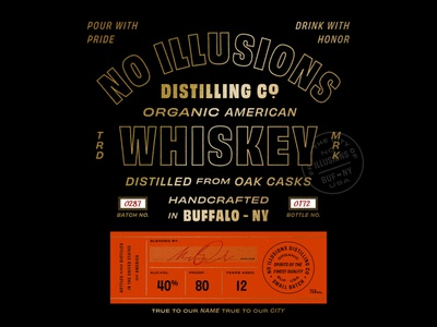 No Illusions Distilling buffalo typography whiskey spirits packaging design label design package design