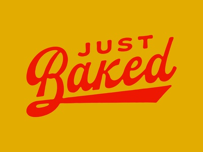 Just Baked script vending machine illustration type lettering