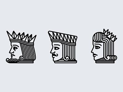 K J Q branding illustration design illustration playing cards queen jack king