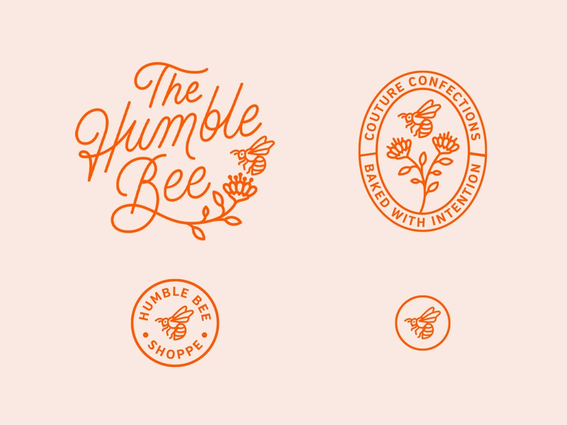 The Humble Bee brand identity bee logo branding illustration