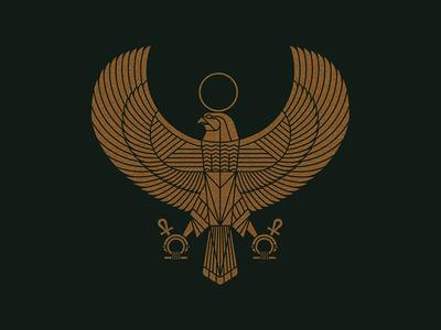 Horus line work illustration egyptian falcon wings bird horus egypt