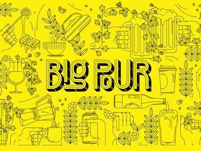 Big Pour Illustration craft honey tea coffee beer festival north carolina illustration