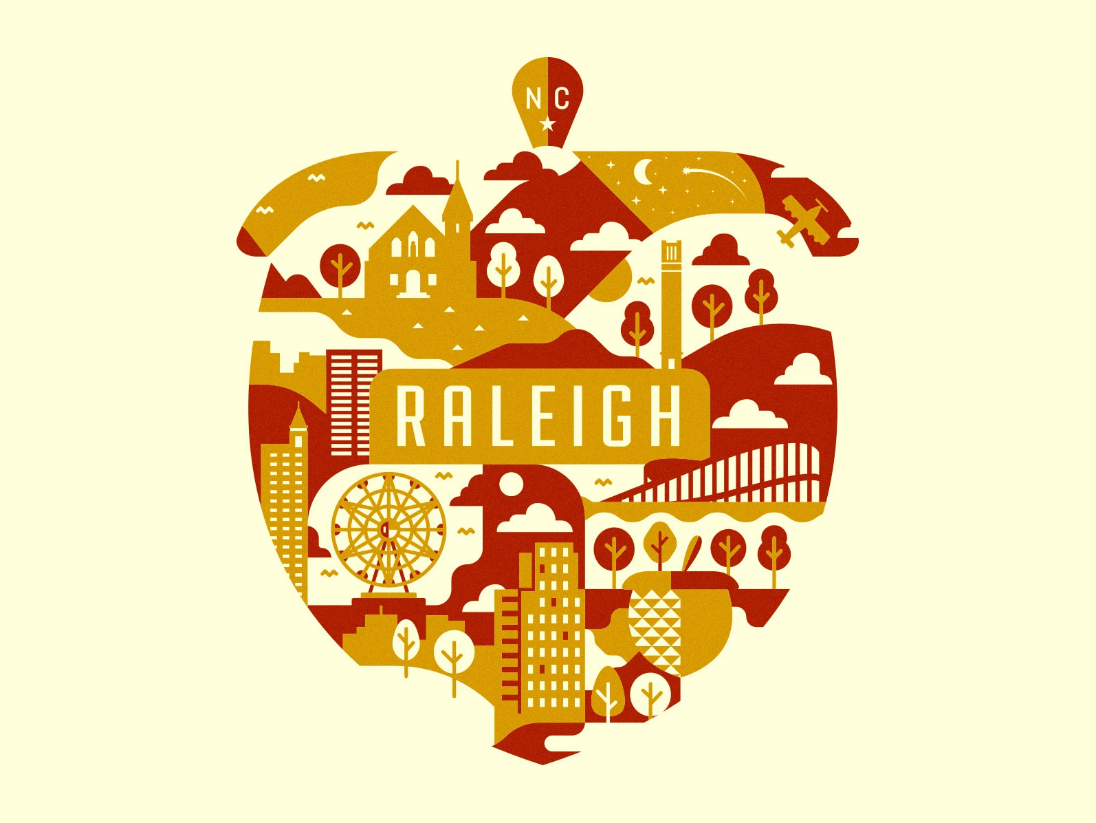 Raleigh raleigh north carolina illustration